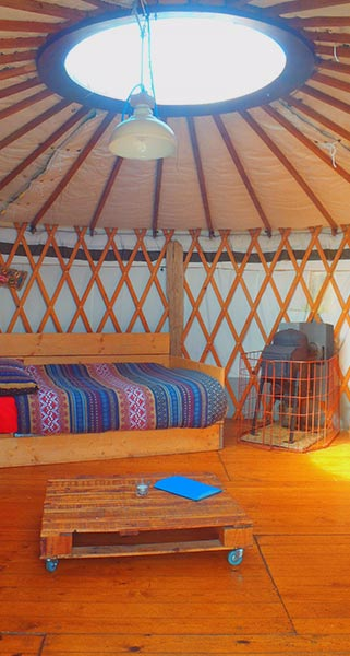 Yurts seating area and easy move table